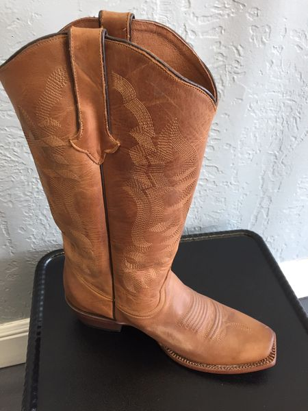Ember Classic Cognac Calf with Tonal Stitch Pattern. All Leather Ladies Western Boot. TML201383.
