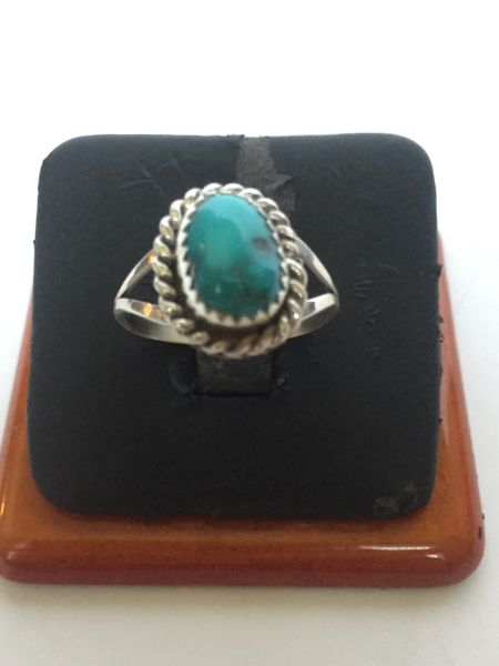 Sterling silver & turquoise ring with rope bezel