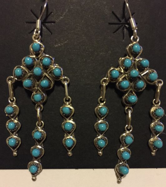 18 round turquoise stone signed dangle earrings.