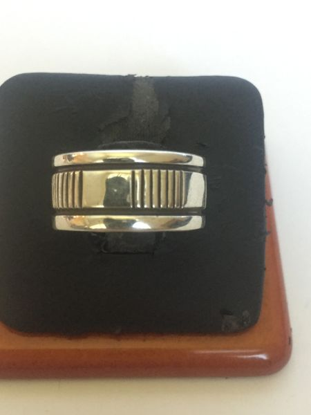 Signed Bruce Morgan microfile sterling silver band