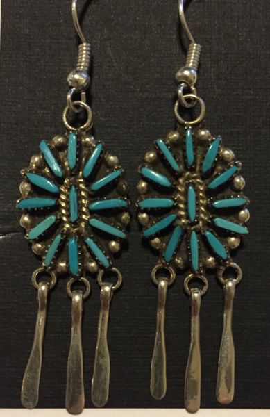 Zuni turquoise blossom & silver dangle signed earrings.
