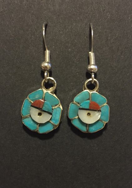 Zuni sunface multi stone inlay earrings.