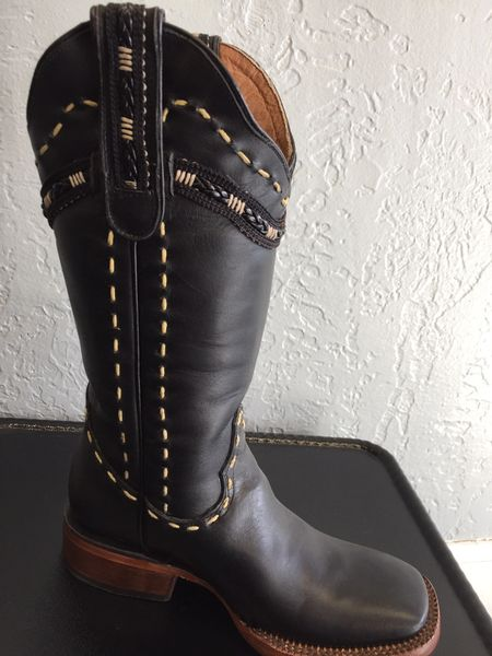 Valencia Black, Midnight Black with Hand Laced Stitching. Ladies Western Boot. All Leather. TML201063.