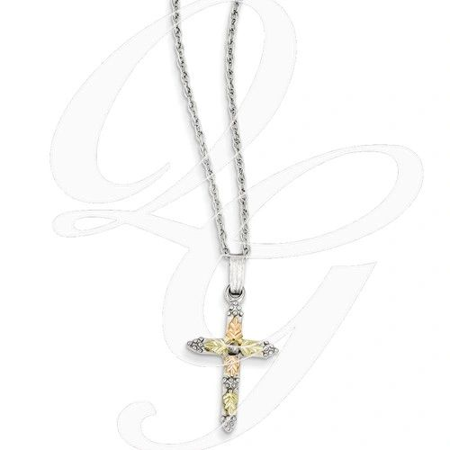 small cross necklace in 12k gold sterling silver
