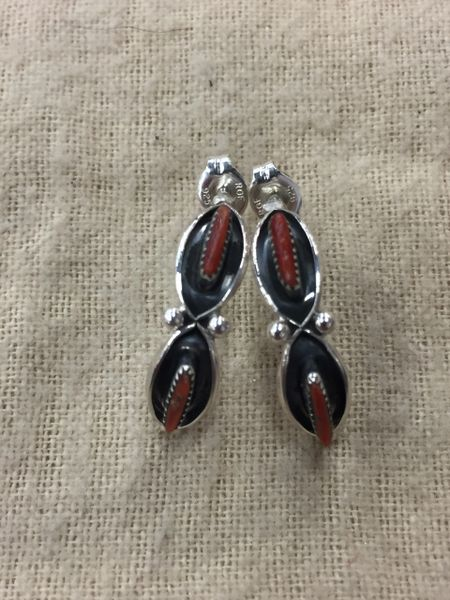 Sterling silver & coral marquise shape petit point studs