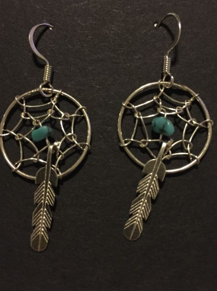 Small dream catcher earrings. Sterling silver & turquoise.