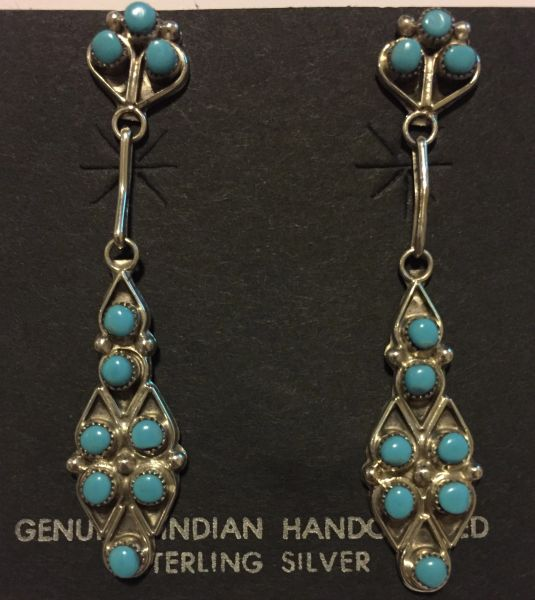 10 round stone turquoise & sterling silver dangle earrings.