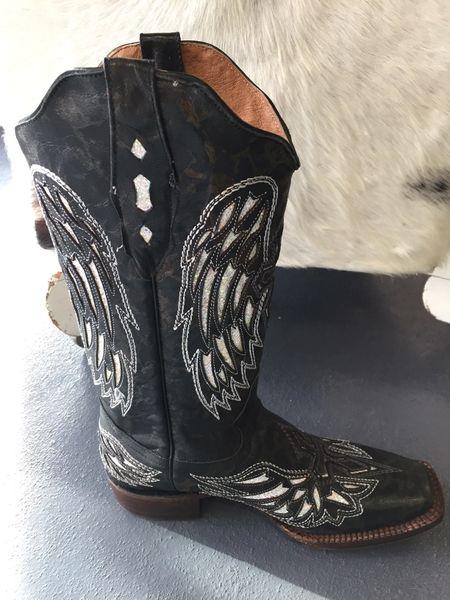 Cabra Fango Brillant Black Feather Cross Pull Up Ladies Western Boot. TML100103