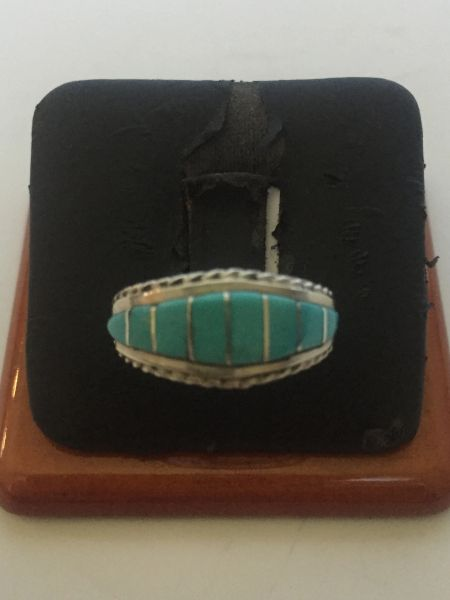 Signed Zuni turquoise & sterling inlay ring