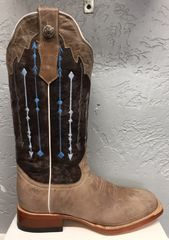 Bailey, Distressed Bone with Stone Washed Blue Top. All Leather Ladies Pull Up Boot. TML201293