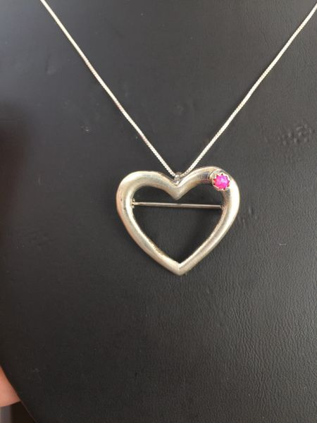 """STERLING SILVER HEART PENDANT/PIN PINK MOTHER OF PEARL WITH 18"""" STERLING CHAIN"""