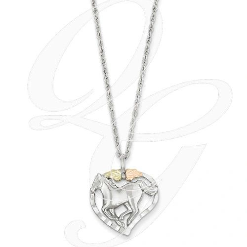 small horse in heart 12k gold sterling silver