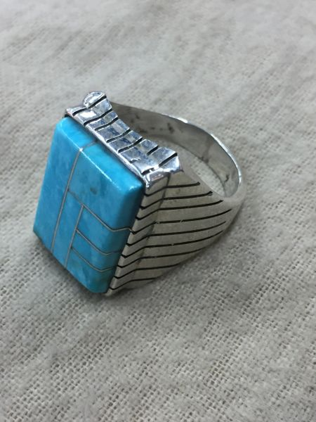 Men's Signed Ray Jack turquoise & sterling inlay ring