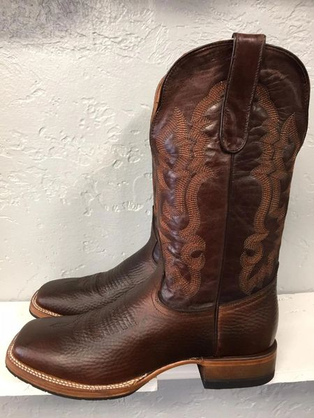 Classic Brown All Leather Boot with Brown Top with Stitching, Sole Saver. TM201419M