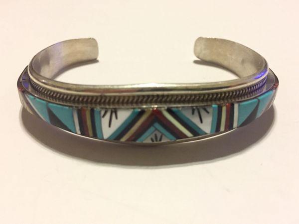 Signed multi stone inlay bracelet sterling silver R L Yuselew Zuni