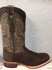 Pecos, Pecan Brown with Vintage Grey Top Men's All Leather Western Boots. TM201261.
