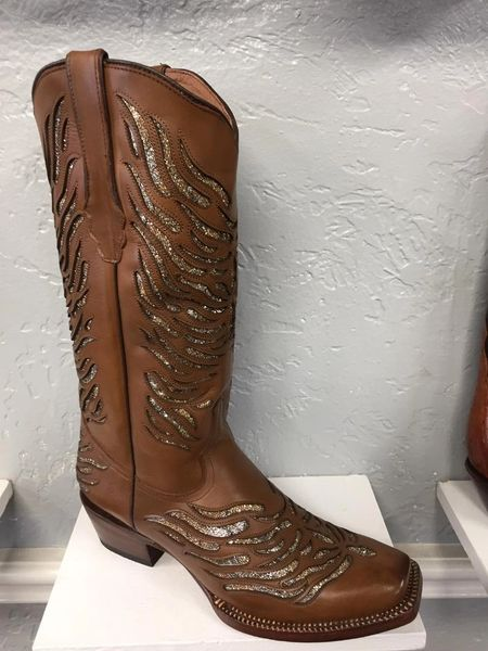 A. Gold Zebra All Leather Ladies Western Boot. TML205012