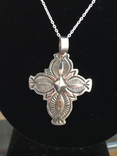 "STERLING SILVER CONCHO CROSS PENDNAT WITH 18"" CHAIN"