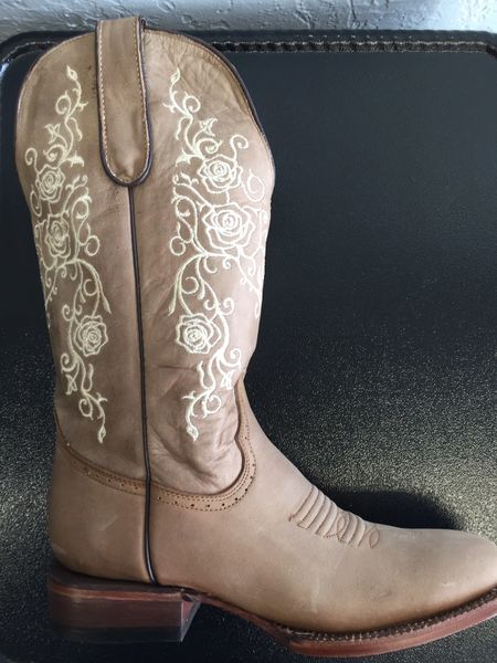 Guias Crazy Brown with Embroider Roses Ladies Western Boot. TML201355