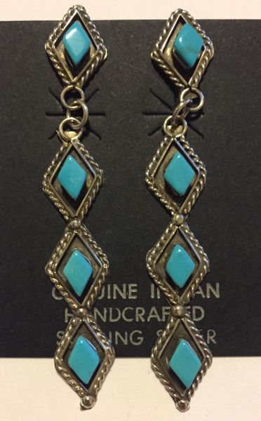 Diamond shape roped edge turquoise dangle earrings.