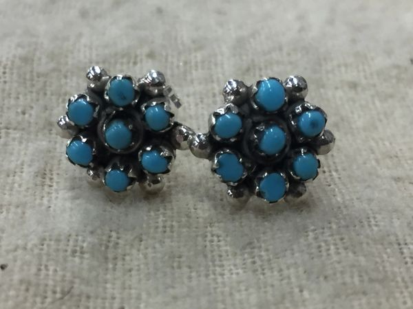 Sterling silver & sleeping beauty turquoise cluster stud earrings