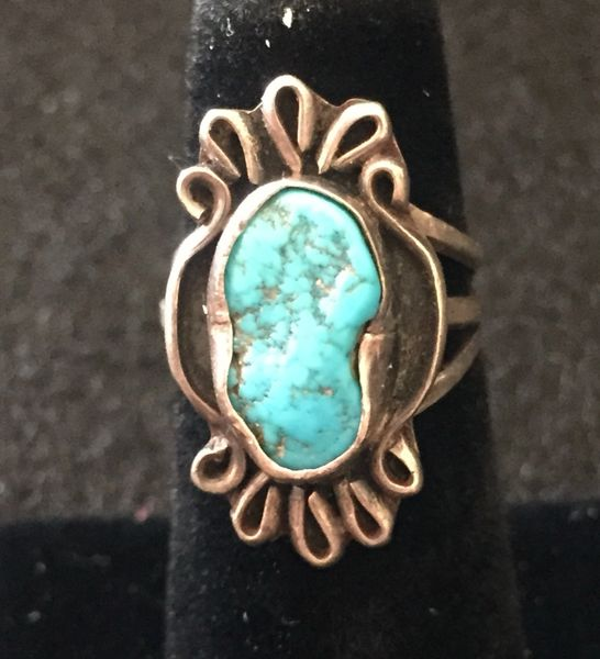 SIGNED TURQUOISE NUGGET RING IN STERLING SILVER GORGEOUS BLUE