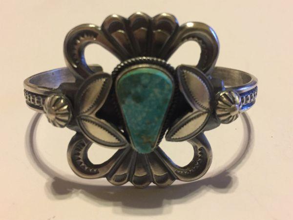 Henry Morgan antique sterling silver & turquoise Bracelet signed.