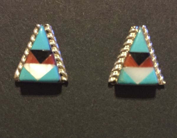 Zuni Tipi inlay stud earrings. Turquoise, coral, MOP & onyx