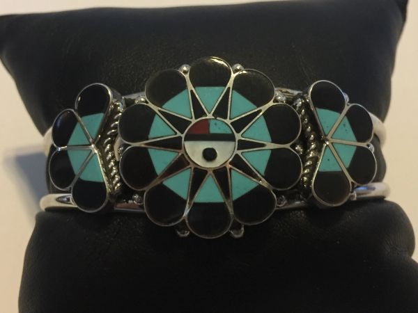 Zuni Sunface inlay bracelet in sterling silver. Signed Delwin gasper