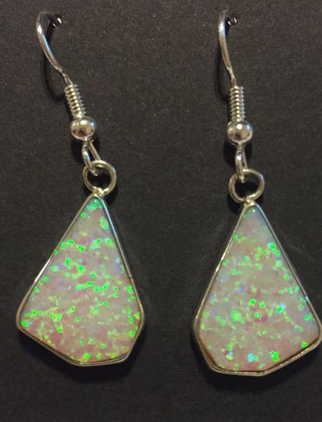 Navajo sterling silver & opal dangle earrings.