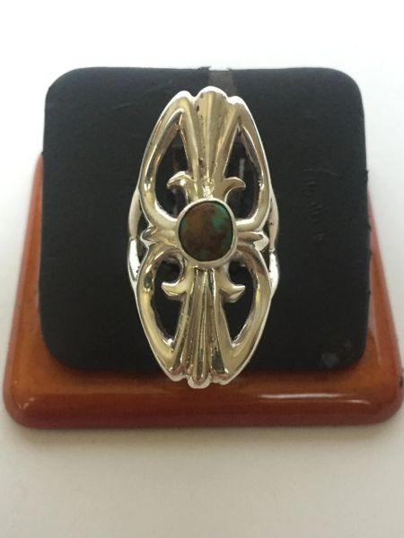 "Stering silver & turquoise ring 1 1/4"" long"