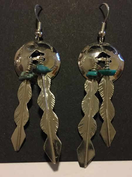 Paula Armstrong sterling silver concho & turquoise with feathers dangle earrings.
