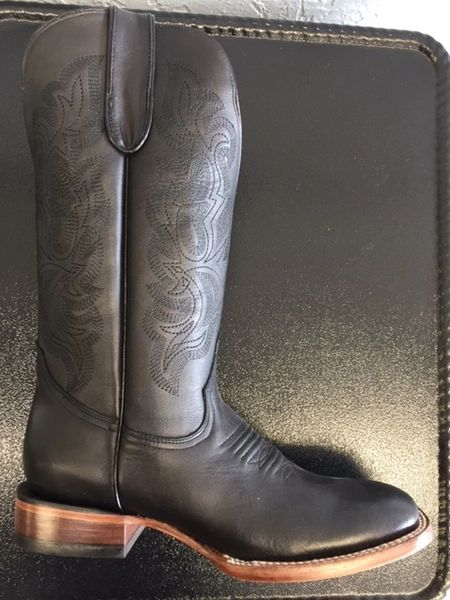 Raven, Black Calf with Classic Stitch Pattern. All Leather Ladies Western Boot. TML201376.