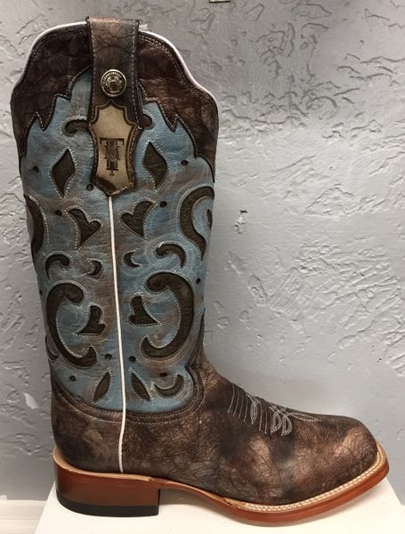 Kaylee, Stonewashed Blue with Marble Blue Top. All Leather Ladies Western Boot. TML201294
