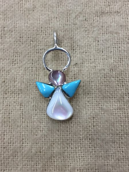Sterlin silver, turquoise & MOP angel inlay pendant. Signed