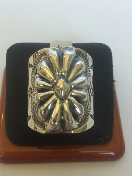 Signed Tim Yazzie sterling silver wide band