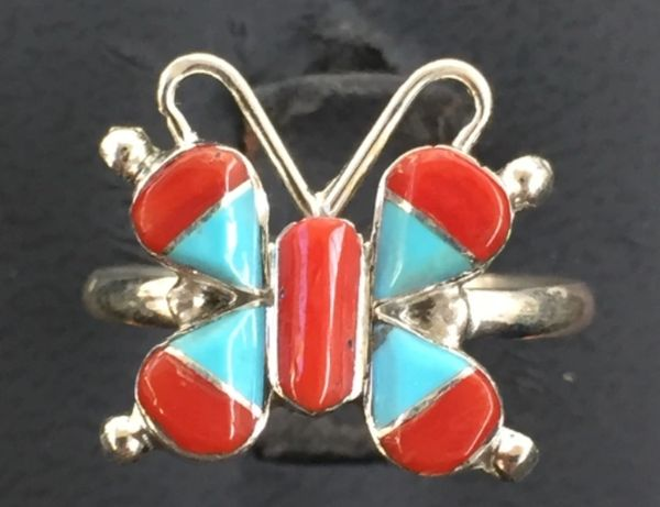 BUTTERFLY RING STERLING SILVER GENUINE TURQUOISE & CORAL SIGNED