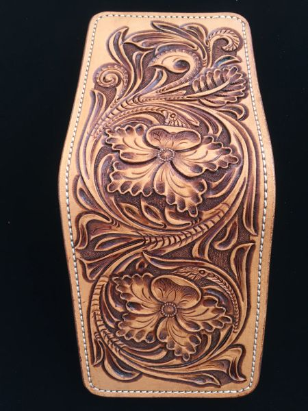 HAND TOOLED HERMANN OAK LEATHER BIFOLD WALLET
