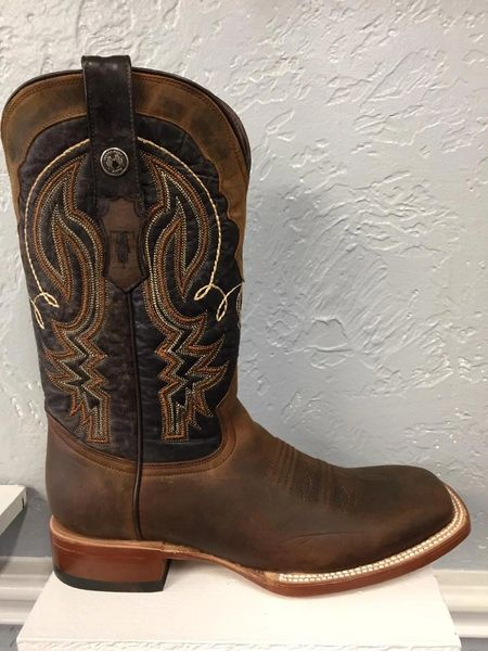 Hobbs, Crazy Horse Dark Brown with Stone Washed Brown Top Men's All Leather Western Boots. TM201271.