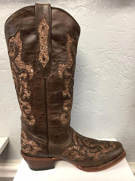 Mae, Marble Brown with Shimmer Brown Iron Cross Inlay All Leather Ladies Western Boot. TML43231