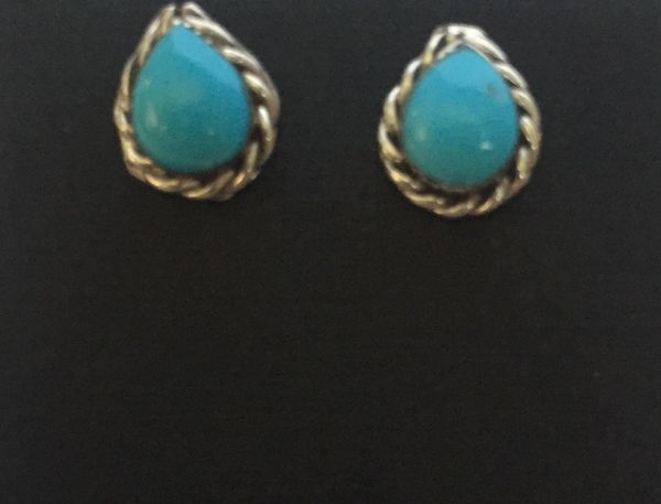 Tear drop with roped edge stud earrings. Sterling & turquoise.