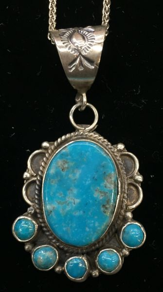 Signed DG stamped sterling silver & turquoise pendant