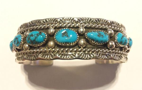 Melvin Jones Navajo Stamped sterling & turquoise bracelet
