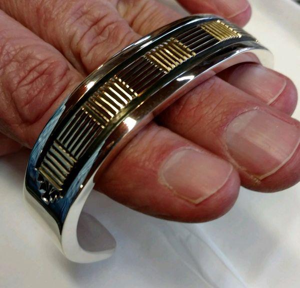 Bruce Morgan 14k & sterling silver handmade men's bracelet