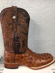Broken Arrow, Rustic Cognac Ostrich Print with Stone Wash Brandy Top Mens All Leather Western Boot. TM200961