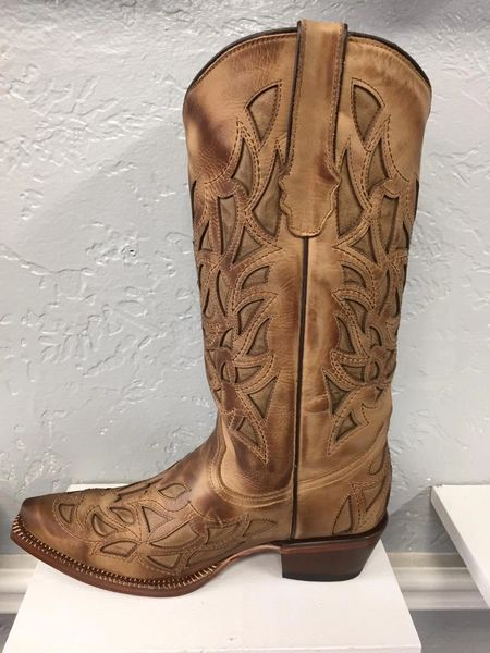 A. Sand Flaming Arrow All Leather Ladies Western Boot. TML201439.