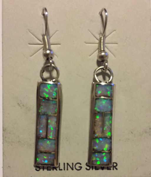 Zuni white opal inlay dangle earrings.