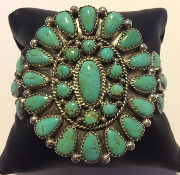 Large Evelyn Platero Zuni cuff bracelet sterling & turquoise