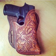 HANDMADE HAND TOOLED ANGLE HOLSTER HERMANN OAK LEATHER