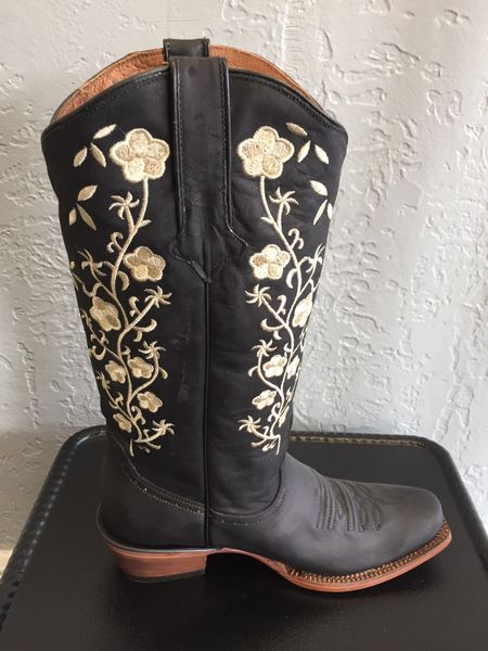 Turin Black, Crazy Black with Vintage Black Top and Floral Embroidery. All Leather Ladies Western Boot. TML201353